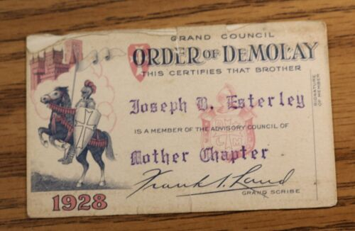 Demolay 1928 Membership Card - Mother Chapter Kansas City MO