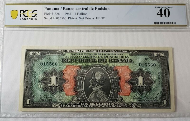 PANAMA 1  BALBOA  1941 Serial #015560  PICK # 22a  PCGS 40 Extremely Fine RARE