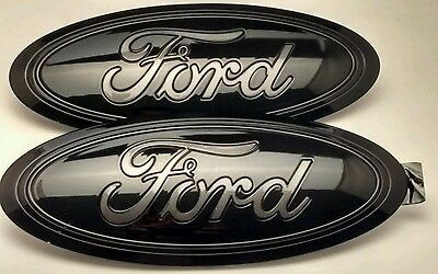 2017-2018 FORD f-250 Black & MAGNETIC GRAY LOGO, oval Emblem SET, FRONT & REAR,