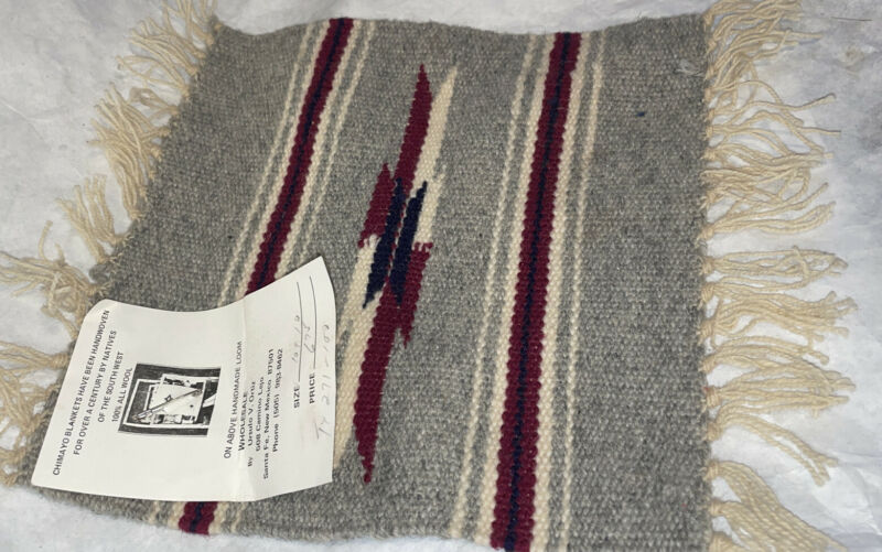 """Small 10""""x10"""" Chimayo Hand Woven New Mexico Native American Blanket Rug Vintage"""