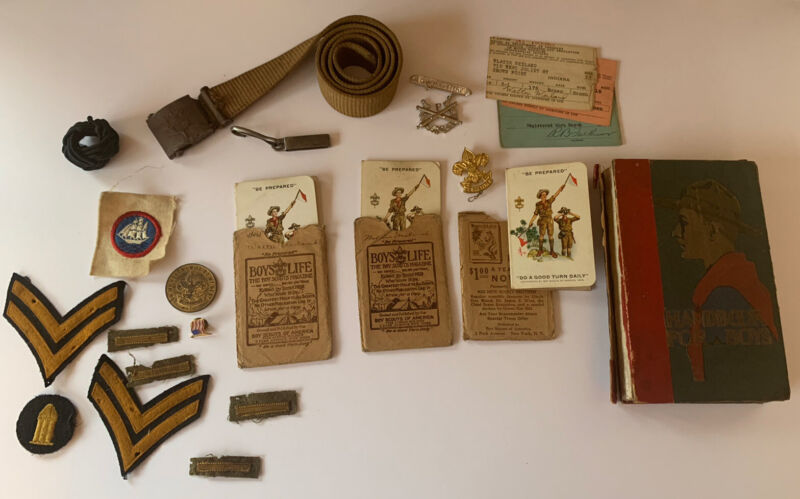 Vintage 1920's to Early 1930's Boy Scout Items Belt, Pin, Patches, Handbook, etc