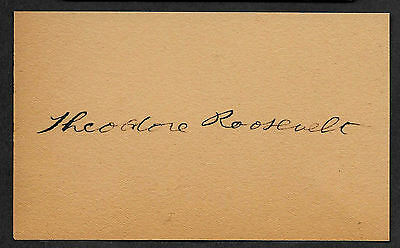 Theodore Teddy Roosevelt Autograph Reprint On Original 1905 3x5 Crd