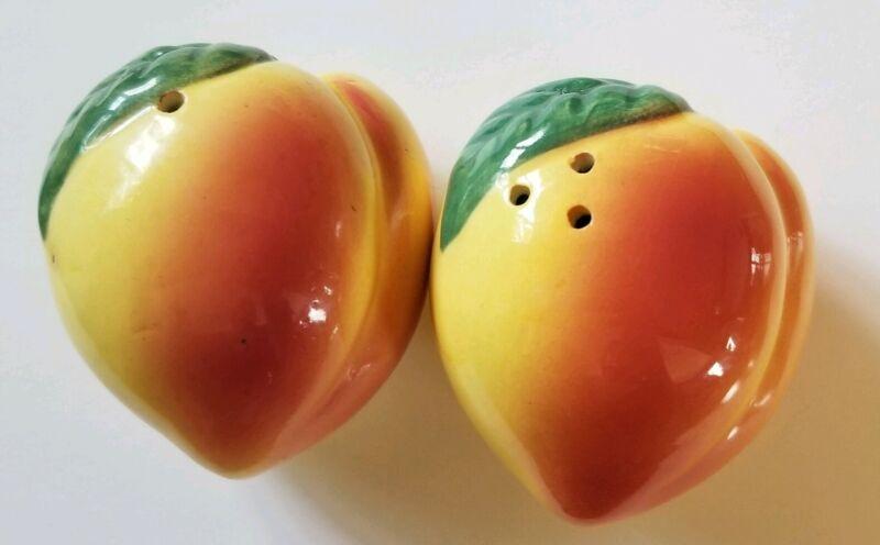 Vintage Ceramic Peach Salt and Pepper Shakers Japan