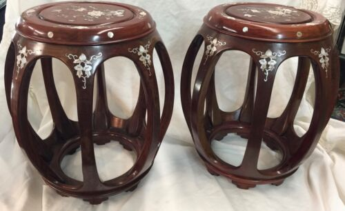 Pair of Inlaid Chinese Drum Stools Mother of Pearl
