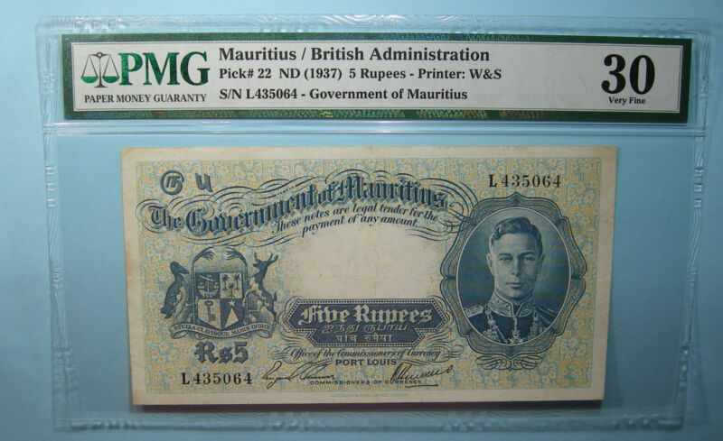 1937 MAURITIUS 5 RUPEES P22 PMG30 VERY FINE RARE INV#PM107-29
