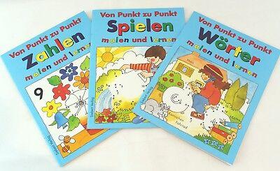 Kinderheft - Von Punkt zu Punkt ZAHLEN / SPIELEN / WÖRTER malen und lernen - NEU