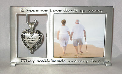 Memorial Frame Those We Love Don't Go Away Ashes Urn New Pewter Locket (Love Pewter Frame)