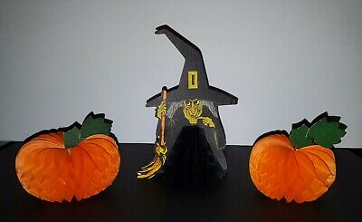 VTG 1967 (3) Hallmark Halloween Honeycombs 1 Witch With Her Broom 2 Pumpkins