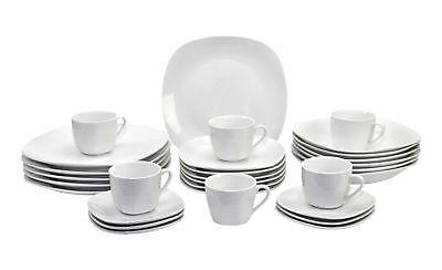 30tlg. Kombiservice Atrium weiß Porzellan 6 Personen Geschirr Tafel + Kaffee online kaufen