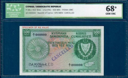 Cyprus 500 mils 1961 specimen, Graded *68* Gem UNC ! Try us w/ your offer!
