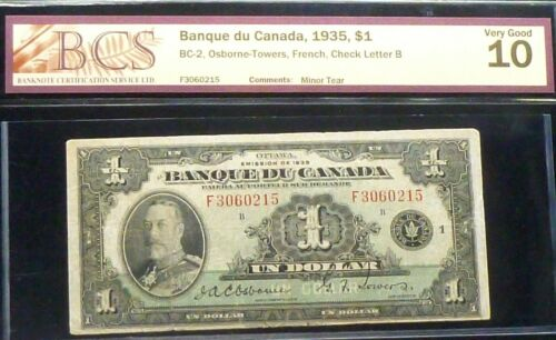 FRENCH . BANK OF  CANADA 1935 $1 -OSBORNE - TOWERS