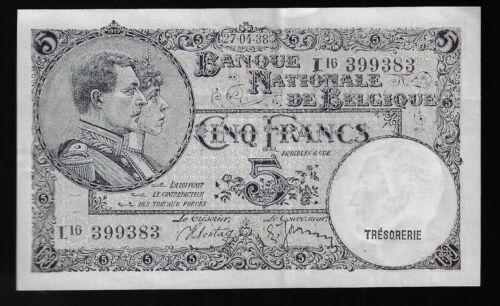 1938 5 Francs National Bank of Belgium Pick# 108 AU (CRISP)
