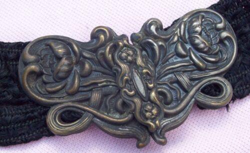 """Vintage Victorian Antique Repousse Brass Art Nouveau Dress 33"""" Belt Sash Buckle"""