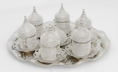Silver coffee set of 6 cups with saucers, tray and lids/ Turkish, Arabic coffee