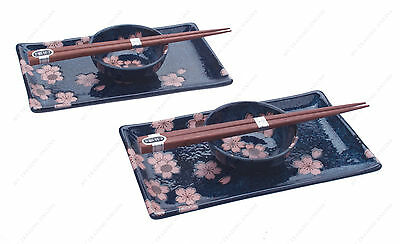 Sushi Set For Two - Blue Sakura Cherry Blossom Sushi Plate Set for Two