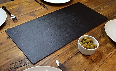 Set of 2 ARTISAN BLACK Bonded Leather TABLE RUNNERS MATS Centerpiece MADE IN UK