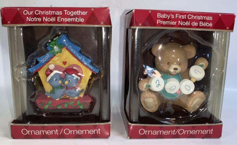 Lot Of 2 American Greetings Ornaments Baby First Christmas + Noel Ensemble 2007