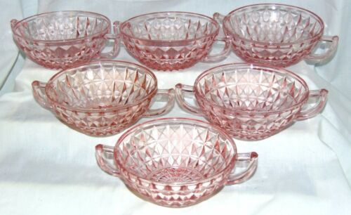 "6 Jeannette WINDSOR PINK *5"" CREAM SOUP BOWLS*"