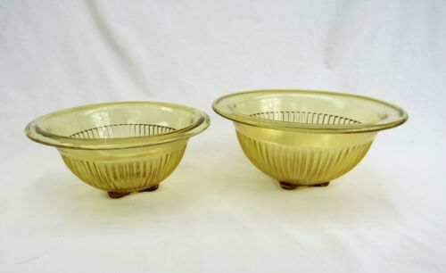 Vintage gold Glass Nesting Bowls ribbed depression glass mixing bowls
