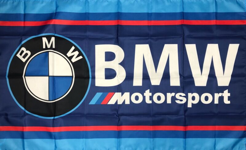 BMW Motorsport Flag 3X5 ft Blue Banner M Power Racing Man-Cave Garage Sports Car