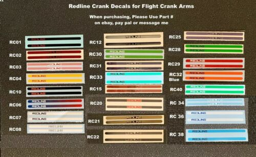 REDLINE Flite Crank Decals, pair (Choice - 1 pair any color, 1 to choose from)