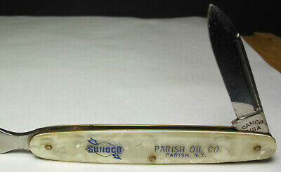 ⛽️ Vtg. SUNOCO Gas/Oil Co. letter opener camco knife Mother Of Pearl handle