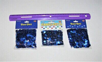 Metallic Star Confetti (Blue Metallic Confetti, Each pkg 1 oz, Circles, Stars or Hearts )