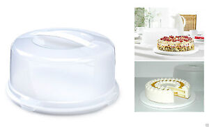 Large Round Cake Storage Carrier Box Container Clear Lockable Lid Cover 33CM