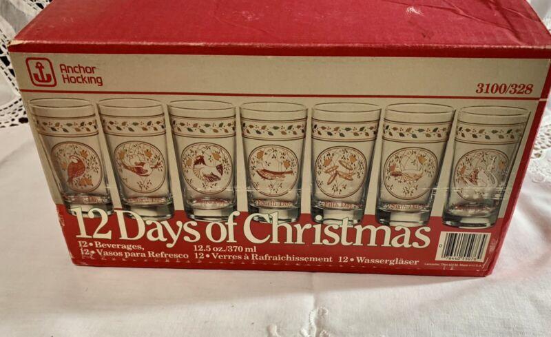 ANCHOR HOCKING Vintage 12 Days of CHRISTMAS Beverage Glasses Full Set