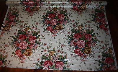 1990 Margin Designs Silkscreen Floral Fabric Dupont Teflon Protected 54  X Bty
