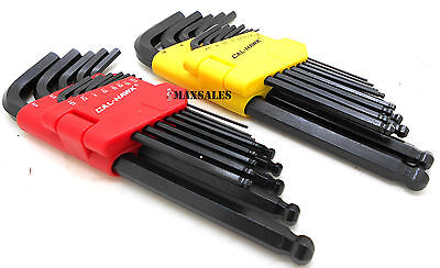 26Pc Allen Ball Point End Long Arm Hex Key Wrench Set Sae   Metric