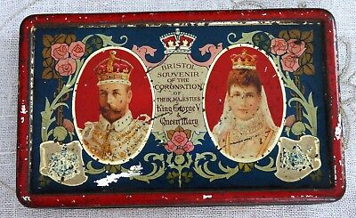 KING GEORGE V & QUEEN MARY CORONATION TIN June 22, 1911 J.S. FRY & SONS Ltd