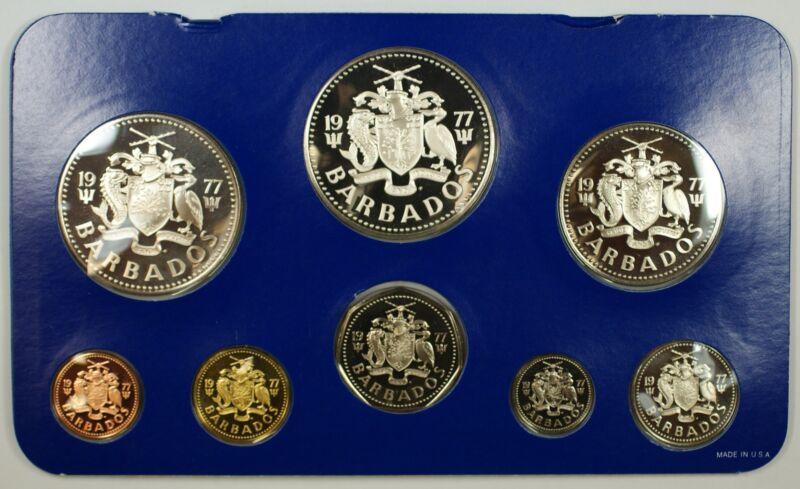 1977 Barbados 8 Coin Proof Set $5 $10 Silver- w/ Box & COA