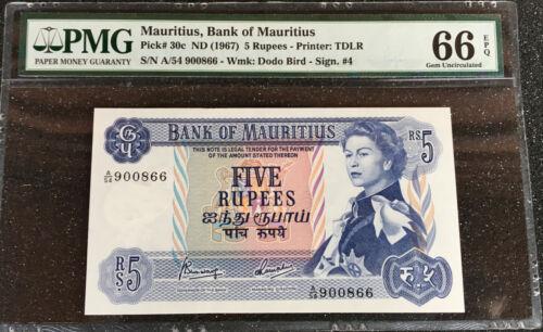 MAURITIUS 5 RUPEES ND 1967  P 30c   PMG 66 EPQ.  GEM UNC