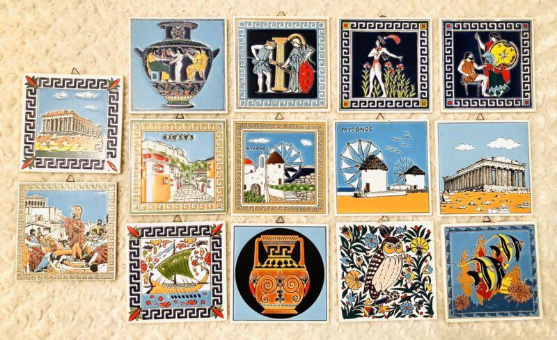 Vtg Lot Of 14 Greek Ceramic Tile Wall Art Hand Made By Niarchos Hellas Greece