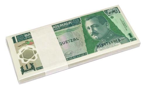 GUATEMALA 1 QUETZAL 2006-2007 P 109 POLYMER UNC BUNDLE OF (100 NOTES) 100 PCS