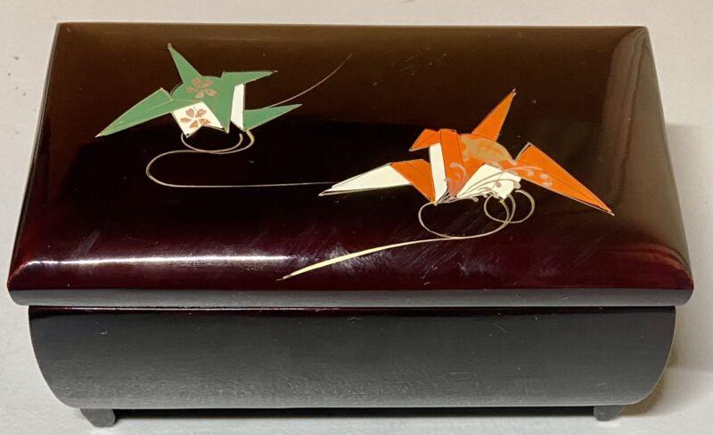 Vintage Stunning Japanese Musical Mirrored Jewelry Music Box Origami Design Rare