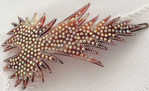 Glamorous antique Edwardian faux tortoiseshell celluloid decorated hair slide