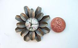 Vintage Style Sunflower Decor Glass Dome Dollhouse Miniatures Wall Clock Reg.$30