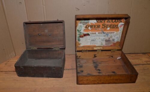Antique DM Ferry & Co flower seed box dovetailed oak collectible plus second box