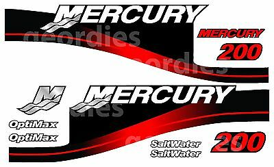 MERCURY 200 OUTBOARD OPTIMAX MOTOR STICKERS DECAL KIT ENGINE   usato  Spedire a Italy