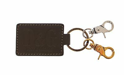 NEW DOLCE & GABBANA D&G Green Leather Metal Ring Hook Logo Keychain Keyring