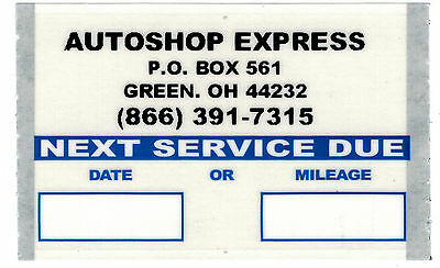 PERSONALIZED OIL CHANGE STICKERS 50/ROLL ORL506