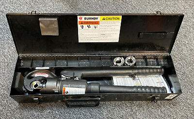 Burndy Y35 Hydraulic Hypress Crimping Tool Crimper In Case -- W 3 Dies -- New