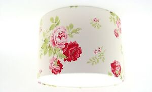 NEW-Lampshade-Handmade-with-Cath-Kidston-Rose-Bouquet-Old-White-Wallpaper-30cm