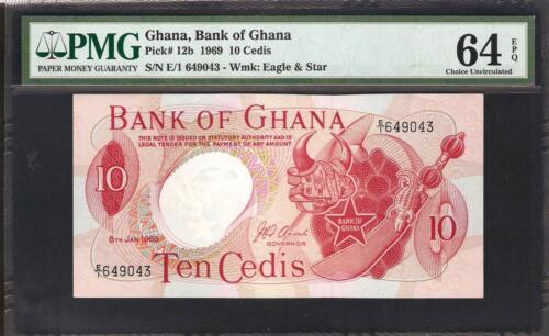 Ghana 10 Cedis 1969  PMG 64 UNC Pick # 12b