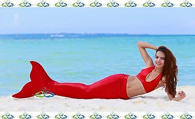 Affordable Costumes (THE2TAILS™ Adult Fire Coral Red Mermaid Tail Affordable w/ Fin)
