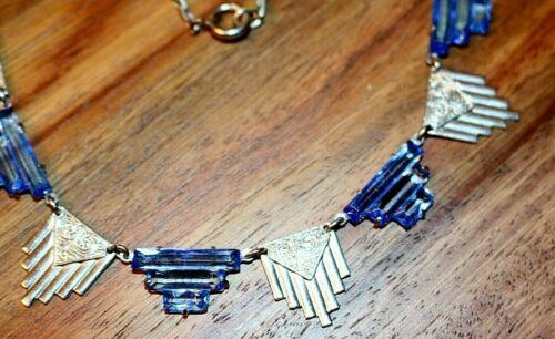 Art Deco Blue Vauxhall Glass & Chrome Machine Era Necklace