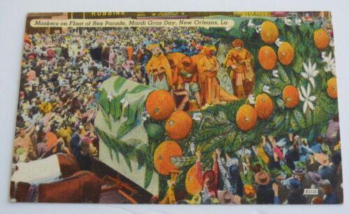 vintage MARDI GRAS REX PARADE NEW ORLEANS postcard Louisiana maskers