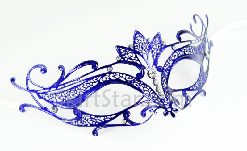Laser Cut Venetian Mask Masquerade Costume Ball Crystal Blue Mermaid Ocean Fairy